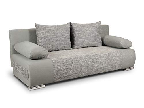 Schlafsofa Naki - Sofa mit Schlaffunktion und Bettkasten, Bettsofa, Couchgarnitur, Couch, Sofagarnitur, Bett (Grau + Grau (Alova 10 + Berlin 01))