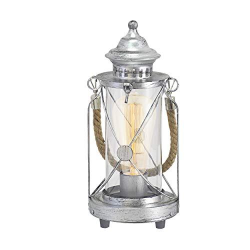 EGLO Tischlampe Bradford, 1 flammige Vintage Tischleuchte, Laterne, Nachttischlampe aus Stahl, Farbe: Silber antik, Glas: klar, Fassung: E27, inkl. Schalter