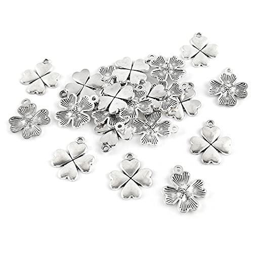 Charming Beads Tibetano Quadrifoglio Ciondolo/Pendente Argento Antico 21mm Pacco di 20