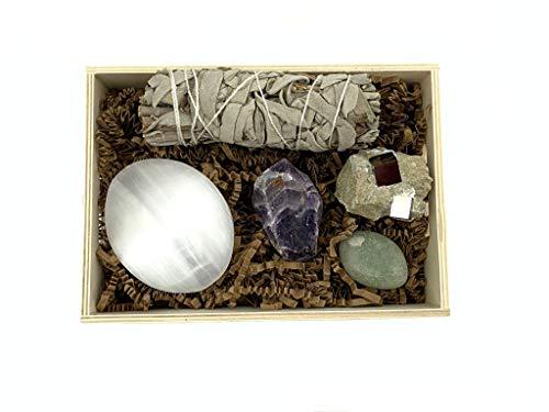 Chakra Palace Spiritual Healing Crystal Protection Set, Pyrite, Raw Amethyst, Selenite, Green Aventurine, Wood Tray, Instructions