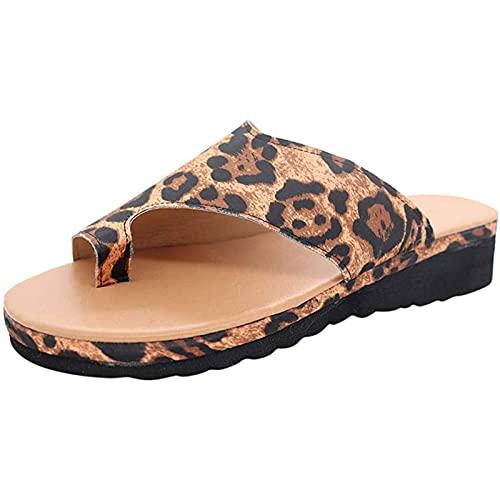 CHEXIAOyg Chancletas Sandalias de juanete para Las Mujeres cómodas - Corrector de buión Zapatos de Plataforma PU Cuero Mujer Flip-Flop Ligero Peso Ladys Zapatos Wedge Sandalias, Leopardo, 39