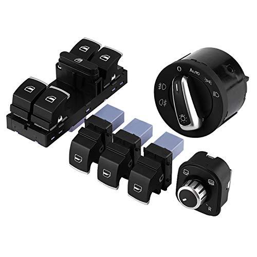 Kit de interruptor de faro, 6 piezas Kit de interruptor de control maestro de ventana eléctrica de espejo de faro de coche para MK5