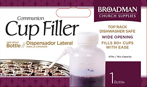 Plastic no Drip Communion Cup Filler - Squeeze Bottle w/Side Straw - Fills 80 Cups