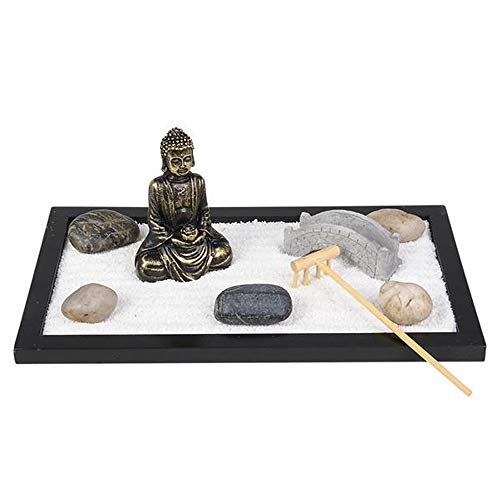 ArtCreativity Mini Zen Garden with Buddha Statue, Rake, Sand, Bridge and Rocks - 11 Inch x 6.5 Inch - Home, Office Desk, and Living Room Table Top Decor - Stress Reliever, Meditation, Relaxation Gift