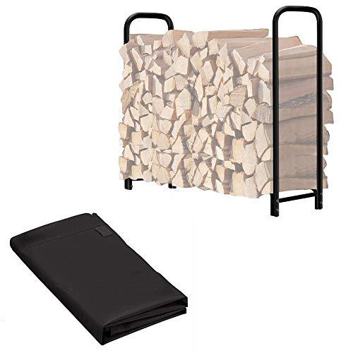 Hanover HANWDSHDLG-Gry Indoor/Outdoor Galvanized Steel Woodshed Storage Rack, 7 ft. x 3 ft. x 5 ft, Dark Gray