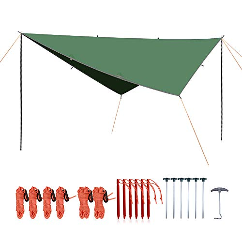 REDCAMP Lightweight Camping Tarp Shelter with Tarp Poles and Canopy Stakes, 12ft Sun Shade Awning Canopy Set for Backpacking Hiking