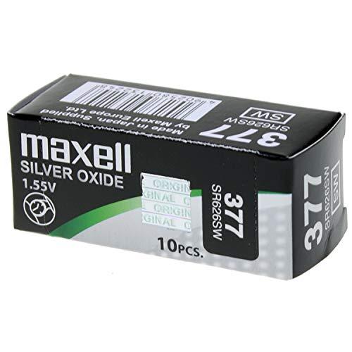 Maxell SR0626SW 377 - Pilas óxido de plata. (10 unidades)