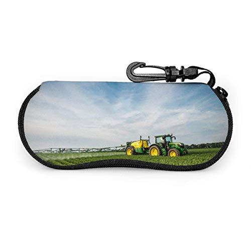 sherry-shop Sonnenbrille Soft Case Mit Karabinerhaken, Traktor Farm Brillenetui, Ultraleichtes tragbares Neopren-Reißverschluss-Brillenetui