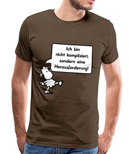 Sheepworld Ich Bin Nicht kompliziert Männer Premium T-Shirt, S, Edelbraun