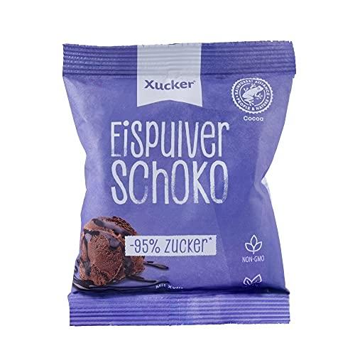 Xucker Eispulver Schoko mit Xylit gesüßt (100g) - Schoko Eis zum Selbermachen I ganz einfach ohne Eismaschine I Veganes Eis I 95% weniger Zucker
