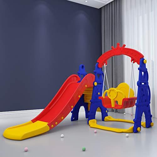 DEKOSH Toddler Playset Multi-Feature Swing & Slide for Kids | Indoor Playground Includes Toddler Swing & Kids Slide