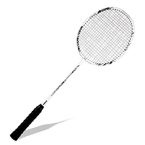 CZ-ING Raqueta de bádminton unisex para adultos con eje de fibra de carbono, raqueta de bádminton profesional de alta tensión (blanco)