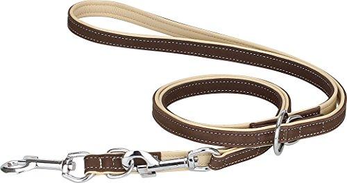 Knuffelwuff Soft-Leder Führleine Hundeleine Orlando mehrfach verstellbar Länge 200 cm, Breite 18 mm Braun/Beige