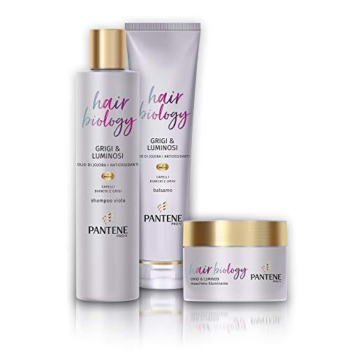 Pantene Hair Biology Grigi e Luminosi, Set Composto da Shampoo da 250 ml, Balsamo da 160 ml e Maschera da 160 ml