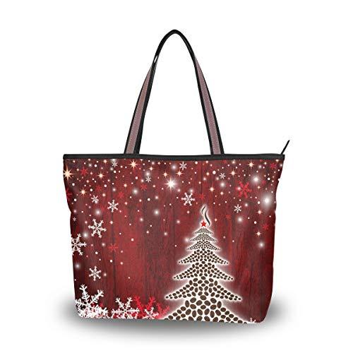 Women Christmas Tree Tote Shoulder Bag Winter Snowflake Handbag Purse