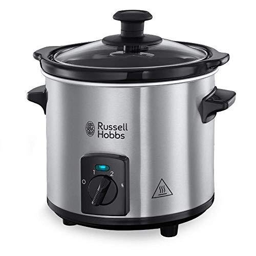 Russell Hobbs Compact Home - Olla de Cocción Lenta Compacta (Olla Baja Temperatura, Acero Inox y Negro, 2l) -ref. 25570-56