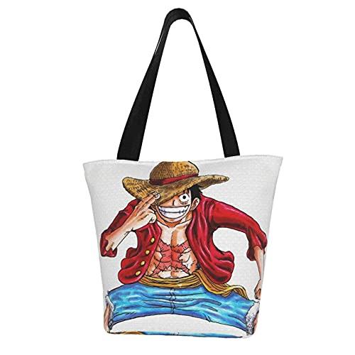 Bolsos de Hombro Anime ONE PIECE Monkey D. Luffy Bolso de hombro de las mujeres Bolsos de compras bolso plegable cremallera cierre gran capacidad Bolso De Hombro Casual