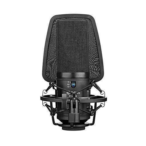 BOYA BY-M1000 Condenser Microphone Podcast Mic Kit Support Omnidirectional/Bidirectional with Double-layer Pop Filter Shock Mount XLR Cable for Singer Vocals Podcaster Home Studio Voice Over Recording