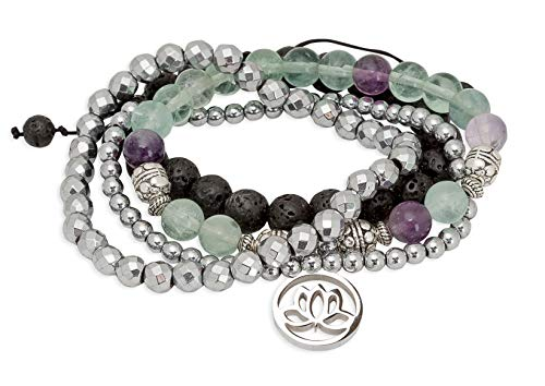 SPUNKYsoul Purple & Green Fluorite Lotus New Beginnings Bracelet Hematite for Healing Stack Bracelet Set Collection