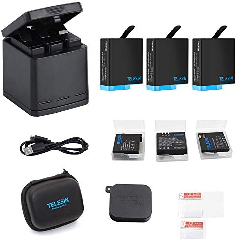 TELESIN GoPro Hero 8black/Hero 7black/Hero 6/Hero 5/gopro hero用互換バッテリー3個 ボックス収納式 USB充電器付き 3個バッテリーケース付き Type-Cインターフェイス 3個同時充電可能 【6ヶ月保証】 (充電器+3バッテリー)