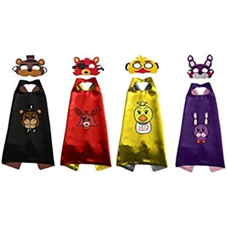 4 Sets-Five Nights at Freddys Costumes Capes and Masks Cosplay for Kids Party - Birthday DIY Dress Up
