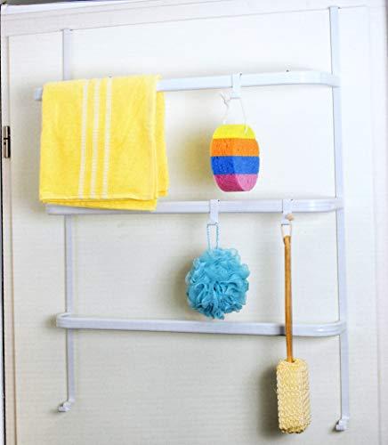Tür-Aufbewahrung mit Handtuchhaken Türgarderobe Garderobe Handtuchhalter Türregal Badregal Weiß