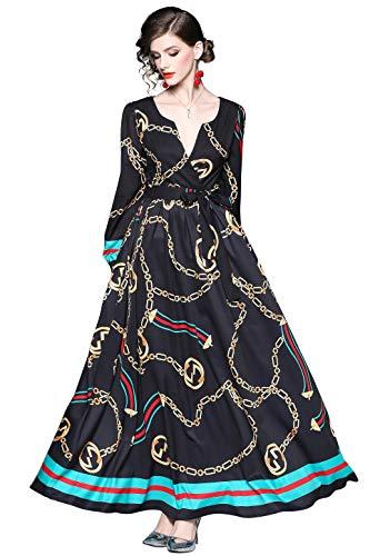 Damen V-Ausschnitt Maxikleider mit Barockmuster und Gürtel Langarm groß Swing Boho Kleid...