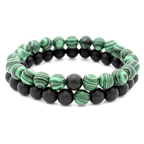 LJSLYJ 2 Stücke 8 Mm Naturstein Perlen Männer Armbänder Weave Charme Paar Armband Für Unisex Schmuck, 6 #