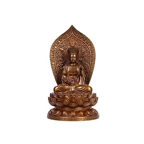 OMYLFQ Buddha Ornamente, Kupfer meditierender Buddha-Statue Figur-Ornament, Zen-Garten-Buddha-Skulptur, Innen-Außen-Dekor für Zuhause, Garten, Terrasse, Porchgartenkunstdekoration