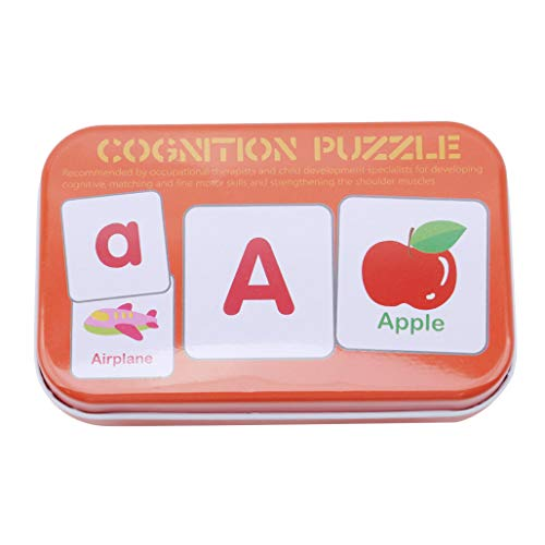 Kaned Lern-Karteikarten, Alphabet, Wörter, Karten, frühes Lernspielzeug mit Box, für Kleinkinder, Kinder, rot