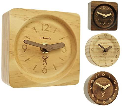 Holzwerk Germany ® Analog Retro Holz Tisch Uhr Natur Holz Tischuhr Uhr Eckig Holzuhr Stand-Uhr