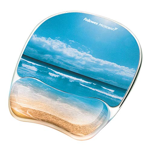 Fellowes Photo Gel Mouse Pad and Wrist Rest with Microban Protection, Sandy Beach (9179301), Blue, 9.25' x 7.31'