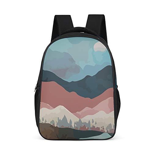 Lind88 Sun and Moutain Mochila Casual Slim Durable College Bags – Paisaje Estampado Estampados Bolsa de escuela Unisex Traje para Montaña Escalada Uso, Hold 15.4' computadora, color gris talla única