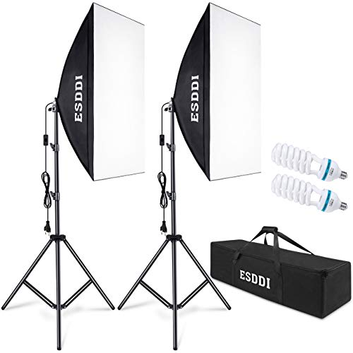 ESDDI Softbox - Juego de iluminación para Estudio fotográfico, 2 Unidades de 50 x 70 cm, iluminación para fotografía con trípode de 85 W