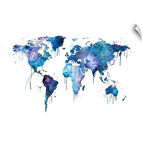 CANVAS ON DEMAND Watercolor Map of The World Map Wall Decal, 48'x32'