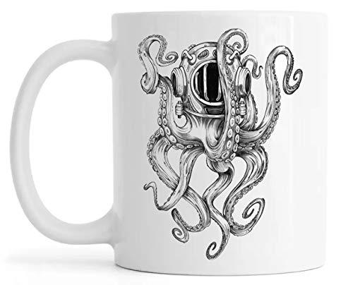 Pulpo Escafandra Autonoma Buzo Casco Lustroso Ceramica Taza Mug Glossy Mug Cup