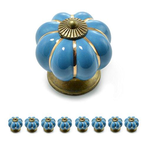 Ganzoo Set di pomelli per mobili a forma di corona, in porcellana, con decorazione in bronzo anticato,stile vintage, shabby chic, per mobili, armadi, cassetti, Blu
