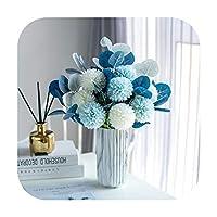 pump-kawayi 菊の花の花束と人工ユーカリ家の装飾の家庭用ポッティングのための装飾的なボール菊の花瓶 -blue with vase
