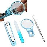 Cortaúñas portátil seguro con lupa 2X, tamaño pequeño y transparente para uñas de hombre y mujer