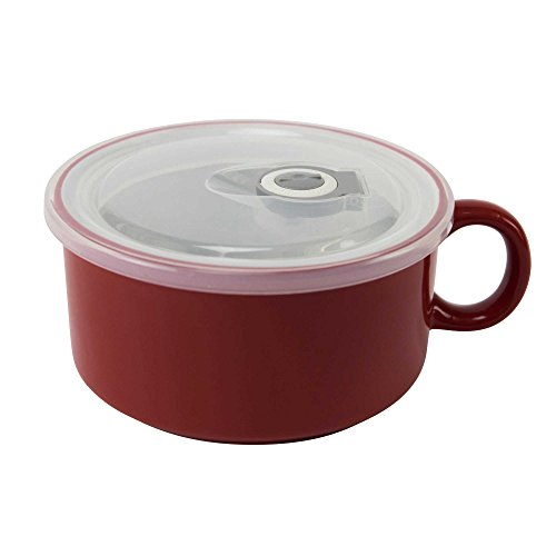 Boston Warehouse 22-Ounce Soup Mug with Vented Lid in Solid Red