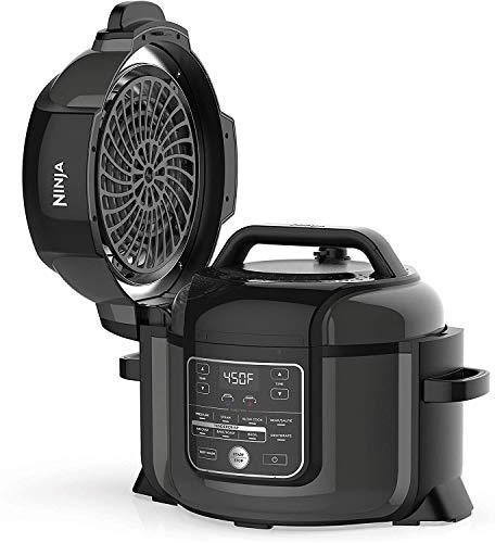 Ninja OP350co Foodi presión 9 en 1, asar, deshidratar, olla lenta, freidora de aire y más, con capacidad de 6.5 cuartos y un acabado brillante (negro) - Renovado