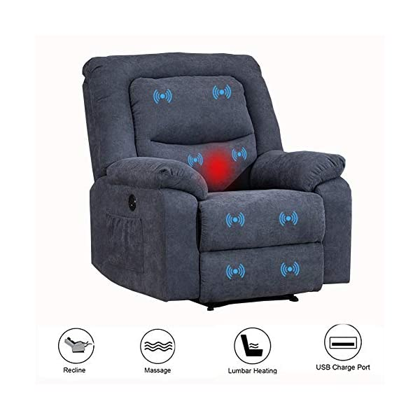 BINGTOO Power Recliner Chair with Heat and Massage, Electric Recliner Sofa Chairs...