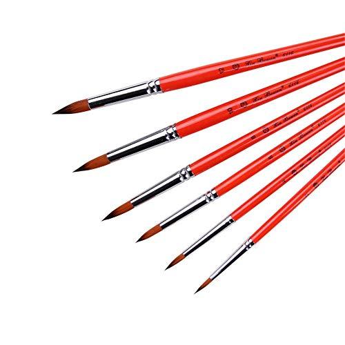 Ensemble de Pinceaux 6 Nylon Brosse de for Huile Aquarelle Peinture Peinture Acrylique Maquillage Facile et de Haute Qualité (Couleur : Rouge, Size : Free Size)