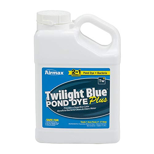 Airmax Twilight Blue Pond Dye Plus with PondClear Beneficial Bacteria, Cleans & Clears Water, Safe for The Environment - 1 Gallon