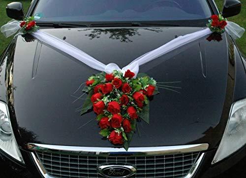 Spitze STRAUß Auto Schmuck Braut Paar Rose Deko Dekoration Autoschmuck Hochzeit Car Auto Wedding Deko PKW (Rot 2)