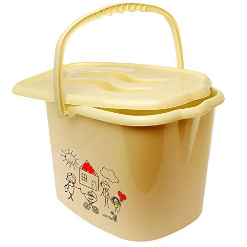 alles-meine.de GmbH Eimer / Windeleimer mit Deckel + Tragegriff - beige - Creme _ kleine Familie - gemalt _ Bieco - geruchsdicht - Putzeimer - Windeln Babywindeln - Geruch - geru..