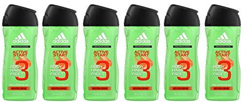 adidas Active Start 3in1 Duschgel für Herren reinigt ph-hautfreundlich Körper, Haar und Gesicht, 6er Pack (6 x 250 ml)