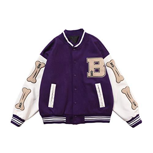 Onsoyours Herren Baseballjacke Unisex Collegejacke Oldschool Varsity Jacket Sweatjacke Vintage Streetwear Oversized Patchwork Sportjacke Violett XL