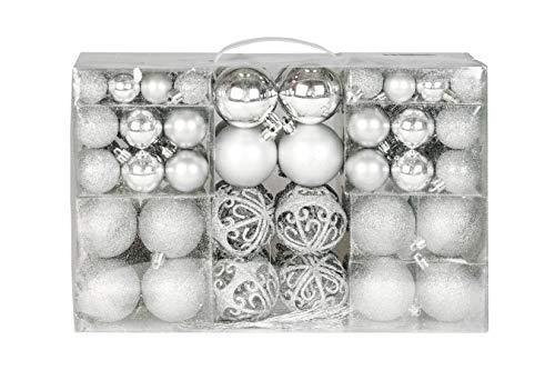 Exklusives Weihnachtskugeln Christbaumkugeln Set mit 100 Stueck Farbe Silber