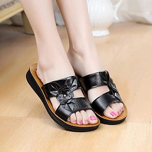 MISS KANG Zapatillas de verano suaves para mujer, planas con arrastre suave, antideslizantes, transpirables, negras, 39, sandalias planas y suaves para interiores Qingchunw